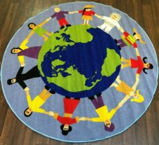 133X133CM CIRCLE RUG-MAT HOME/SCHOOLS EDUCATIONAL NON SLIP BEST SELLER OUR WORLD